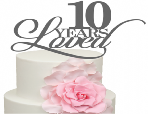 10 Years Loved 10th Anniversary Age Cake Acrylic Topper
